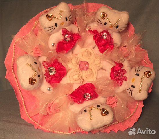 Букет для новобрачных из плюшевых мишек букетов