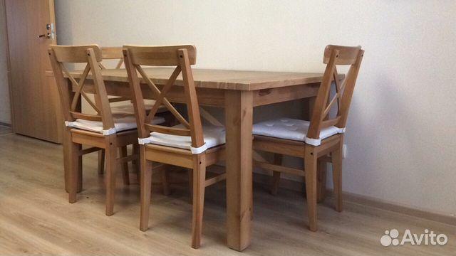 продаю раздвижной стол и стулья икеа массив Festimaru
