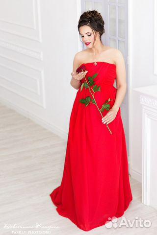 d35825a8009508f Вечернее платье для беременной красное, со шлейфом купить в Санкт ...