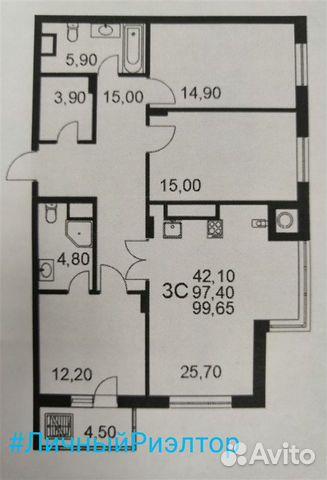 3-к квартира, 99.7 м², 17/25 эт. 89521271460 купить 2