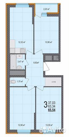 3-к квартира, 65.5 м², 16/18 эт. 84822415888 купить 2