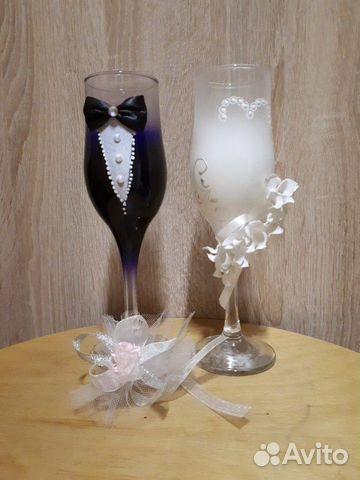 Бокалы свадебные + 2 бутоньерки